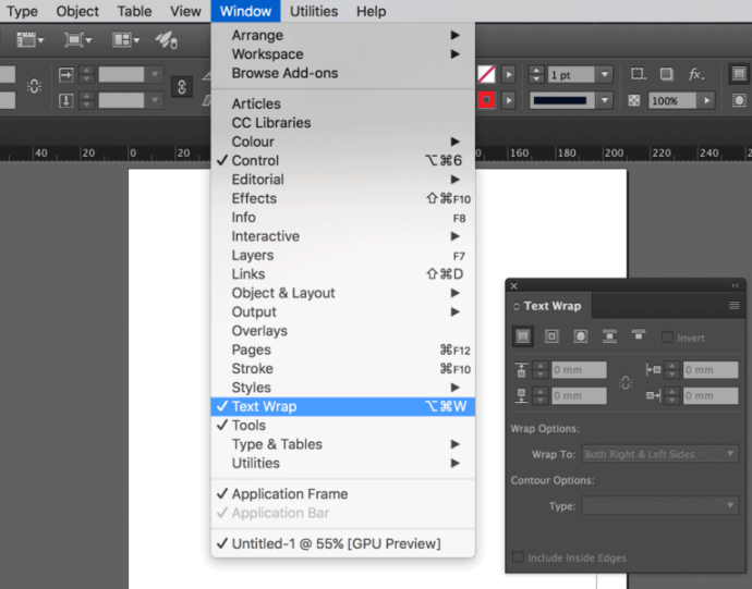 Wrap text in Adobe InDesign