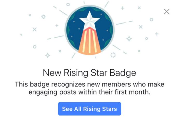 Facebook-Abzeichen Rising Star