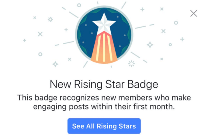 facebook badges Rising Star