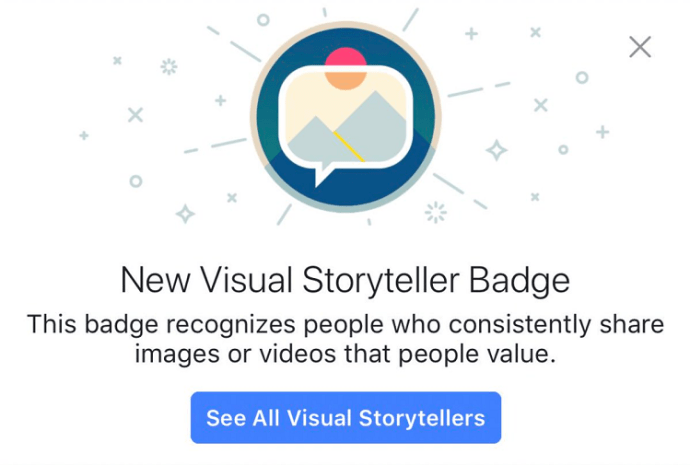 Facebook-Abzeichen Visual Storyteller