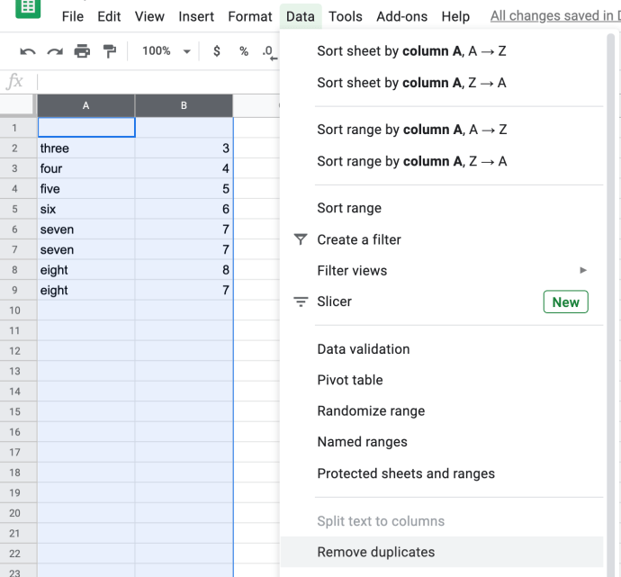 highlight columns in Sheets to find duplicates