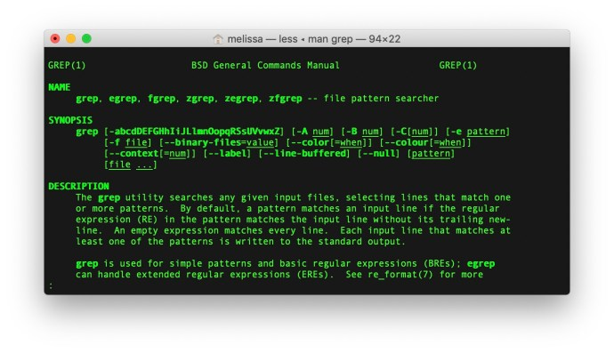 mac terminal grep man page