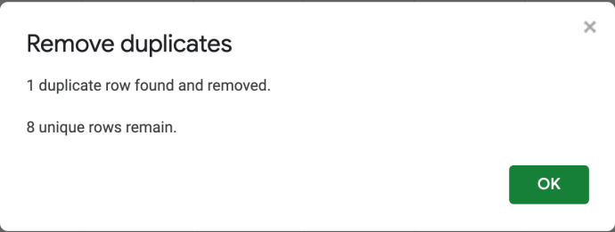 confirm how many Sheets duplicates removed
