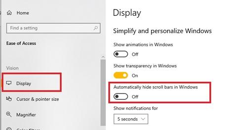 Automatically hide scroll bars in Windows