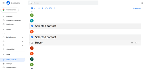 Contacts - Selecting and Hovering Over Contacts