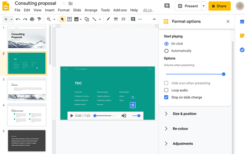 how to add audio to google slide