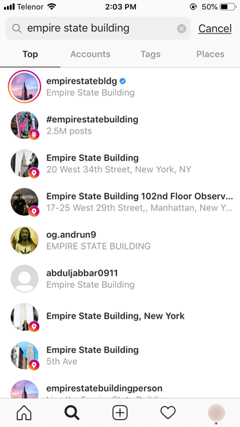 search on Instagram