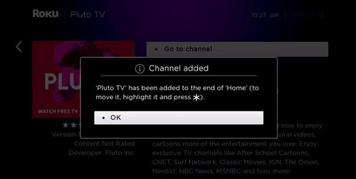 install pluto tv on the roku