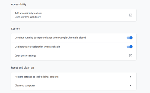 Chrome Restore settings