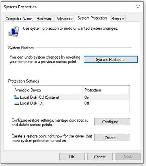 Click System Restore