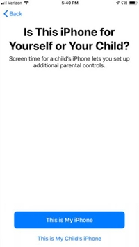 Turn on Screen Time