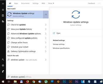 Windows Update Start menu