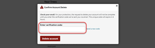 deleting verification code