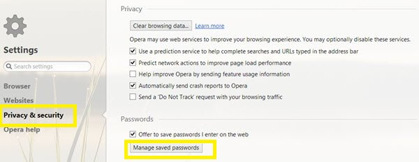 manage saved passwords