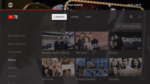 youtube-tv library