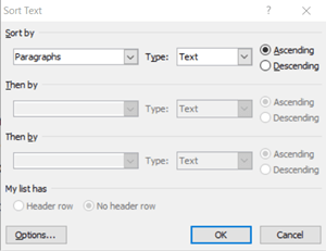 automatically alphabetize in word