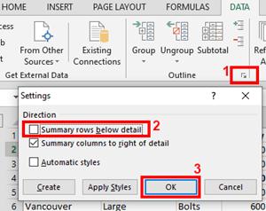 summary rows below detail
