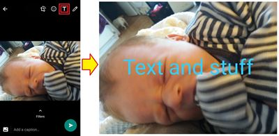 If you send a picture via WhatsApp, you probably know all about the pencil tool you can use to write on the images you send.  However, there is another option that few people know about - the text function.