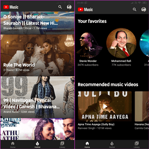 YouTube Music interface