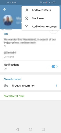 Telegram adds contact with username