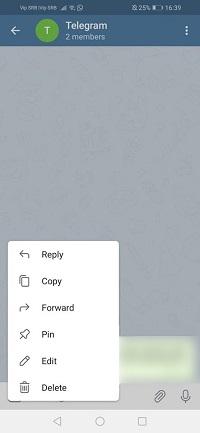 Telegramm erhalten Nachricht zurück gepinnt