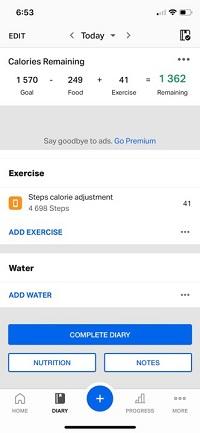 MyFitnessPal add steps