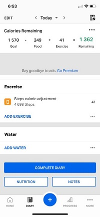 MyFitnessPal add steps
