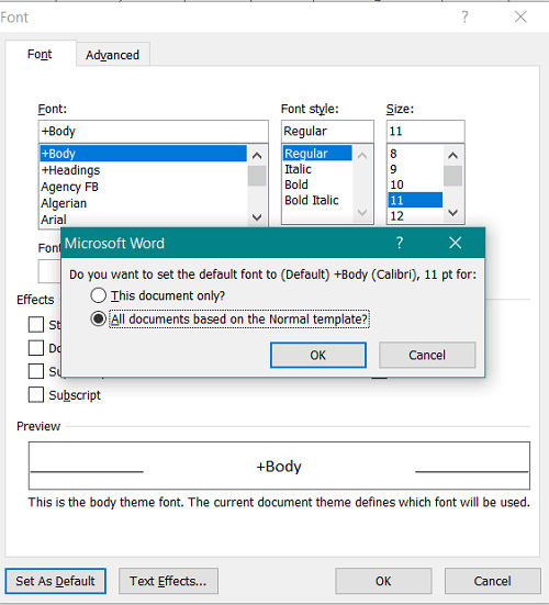 Microsoft Word how to change the default font