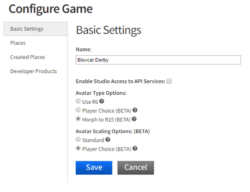 basic settings - player choice