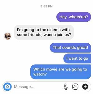 instagram my messages blue