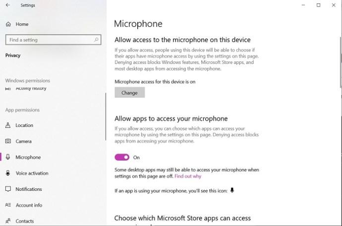 Windows microphone