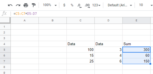 Google Sheets Multiply Two Columns