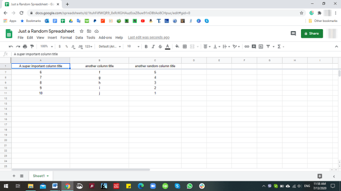 How to Unfreeze Cell in Google Sheets