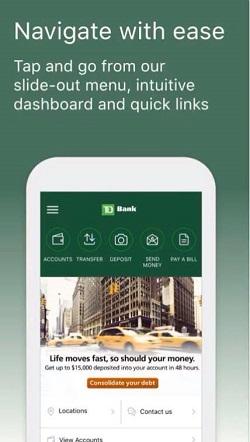 Find Zelle on TD Bank App