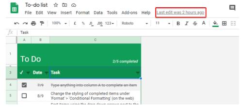 Check Google Sheet Edit History