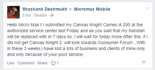Can Micromax step into the world market with it's poor quality customer service? 6