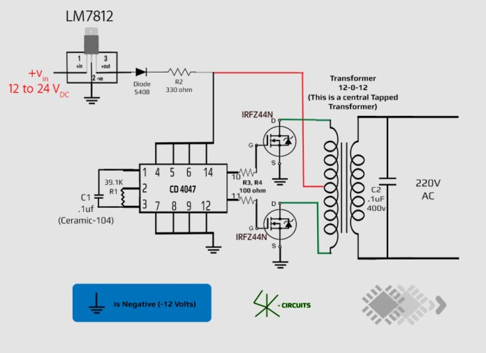 inverter circuit using CD-4047_free energy