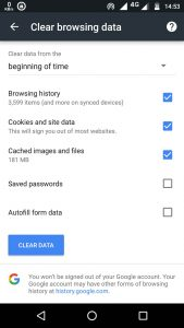 chrome history option - clear history on android
