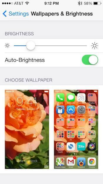 iPhone Brightness Setting