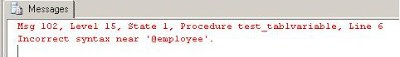 error SQL Server-Table Variable SQL Basic Concepts