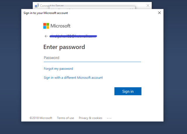 Enter your Azure Password