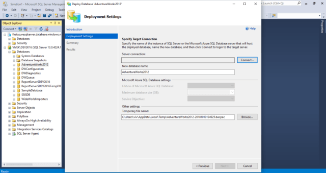 Choose Azure Target Connection, New Database name & backup file location