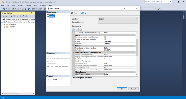 Figure-18 Select setting for new Azure SQL database