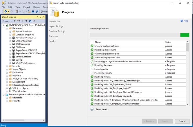 Importing Database...