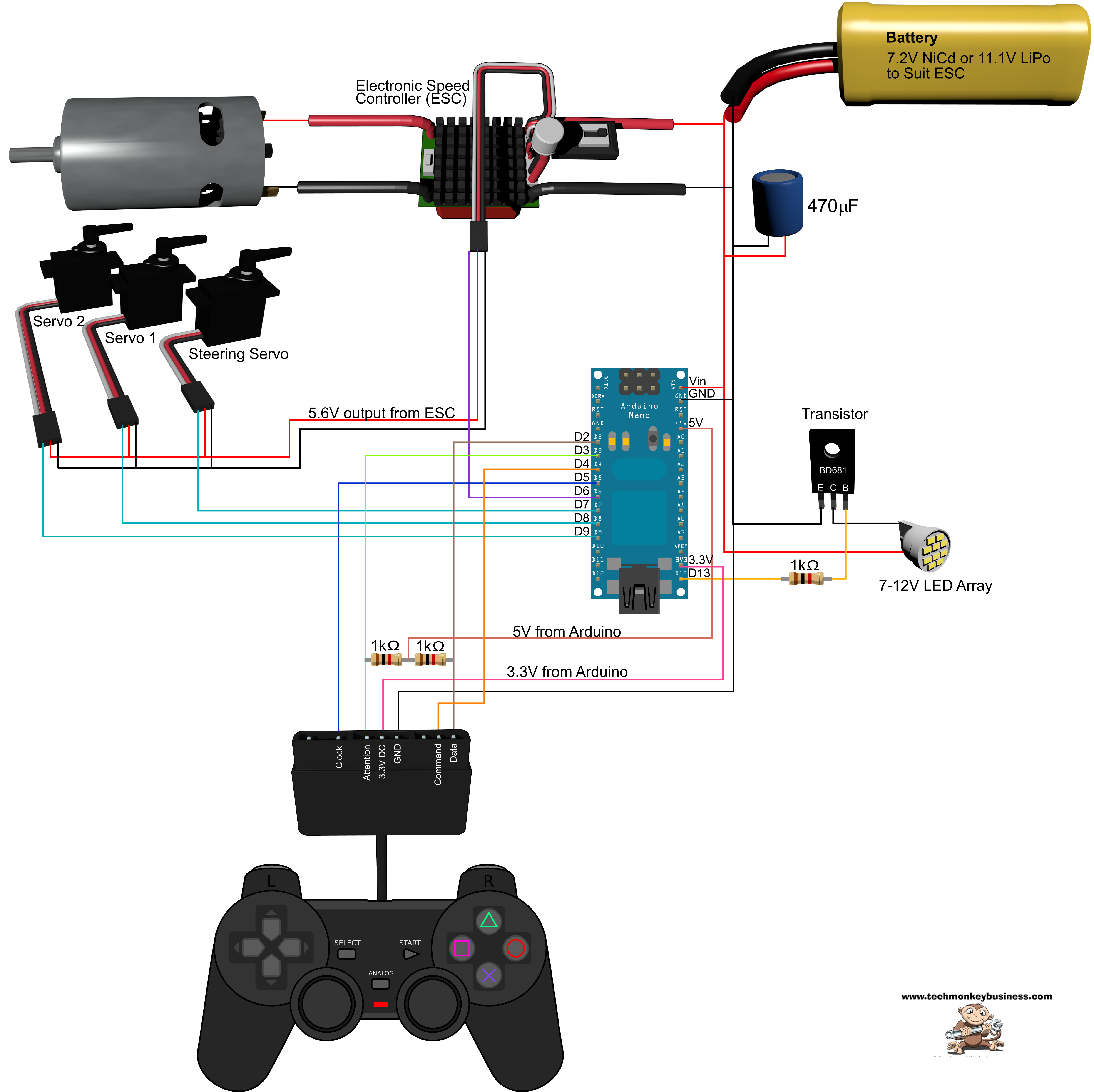 ps2 controller to usb wiring diagram led light bar no relay using a playstation 2 with your arduino project