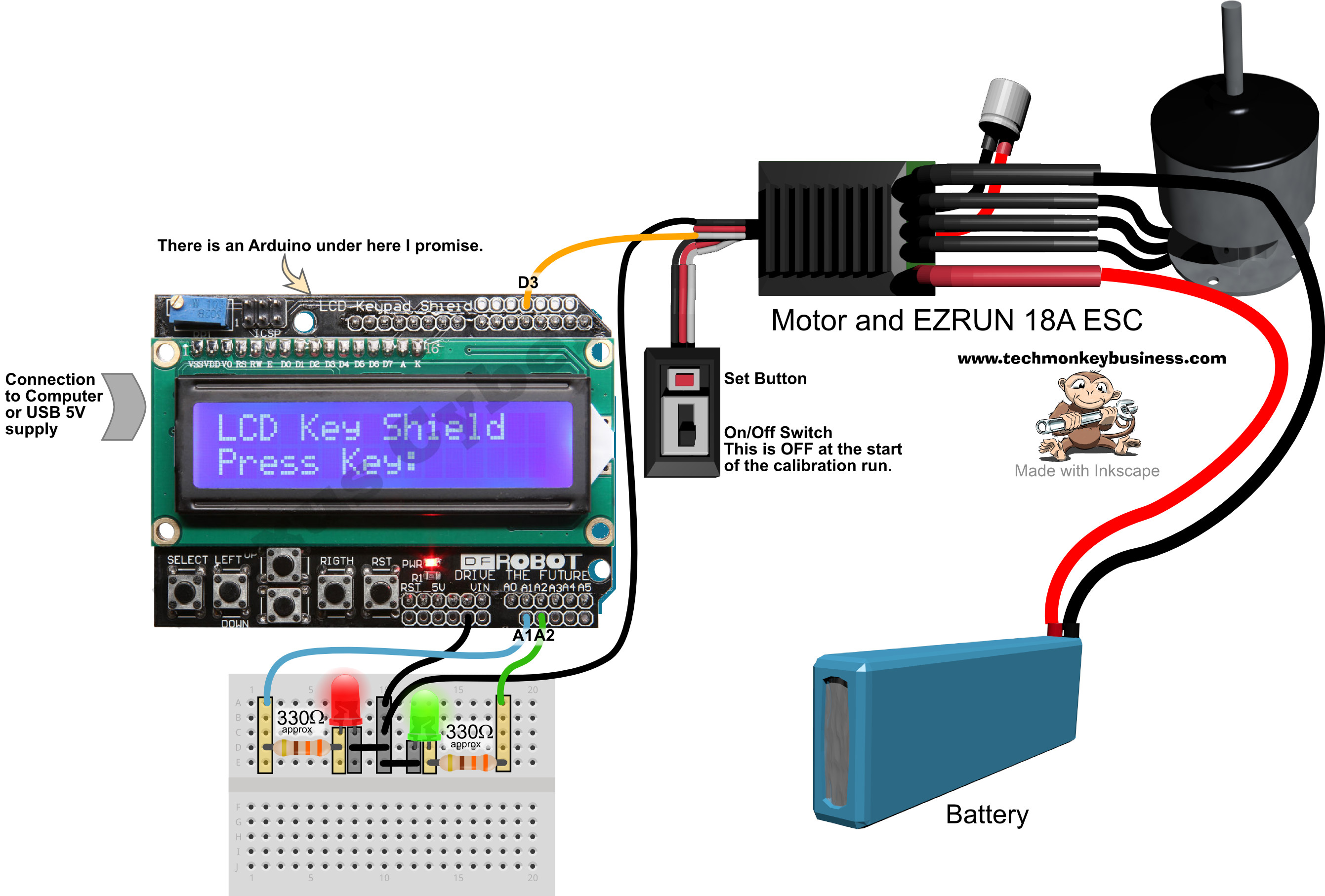 arduino lcd screen wiring diagram sequence for web application circuit great installation of programming and calibrating the ezrun 18a escs laptop
