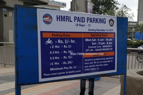 Hyderabad Metro paid car bike parking rates