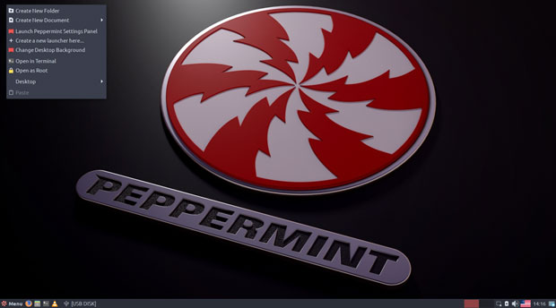 Peppermint 9 menu options, applets