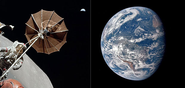 Astronaut and Earth, Apollo 15, 1971; and the Earth by Apollo 17, 1972.