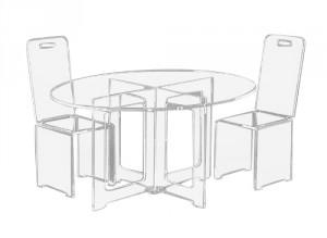 table basse ovale en plexiglas
